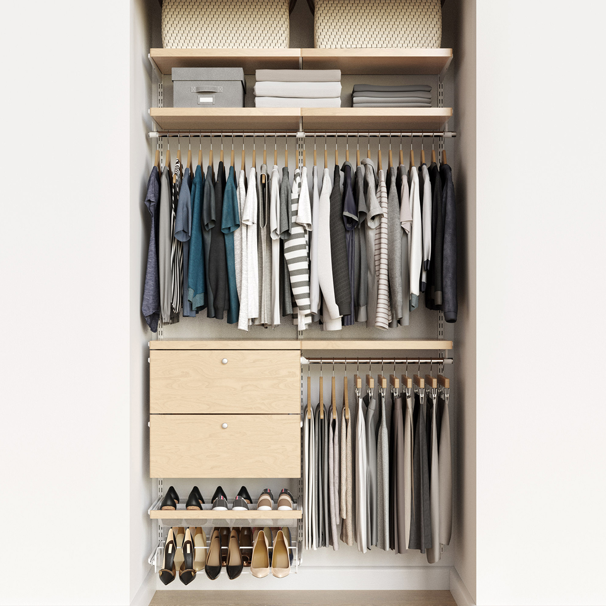 Elfa Decor 4' White & Birch Reach-In Drawer Front Closet